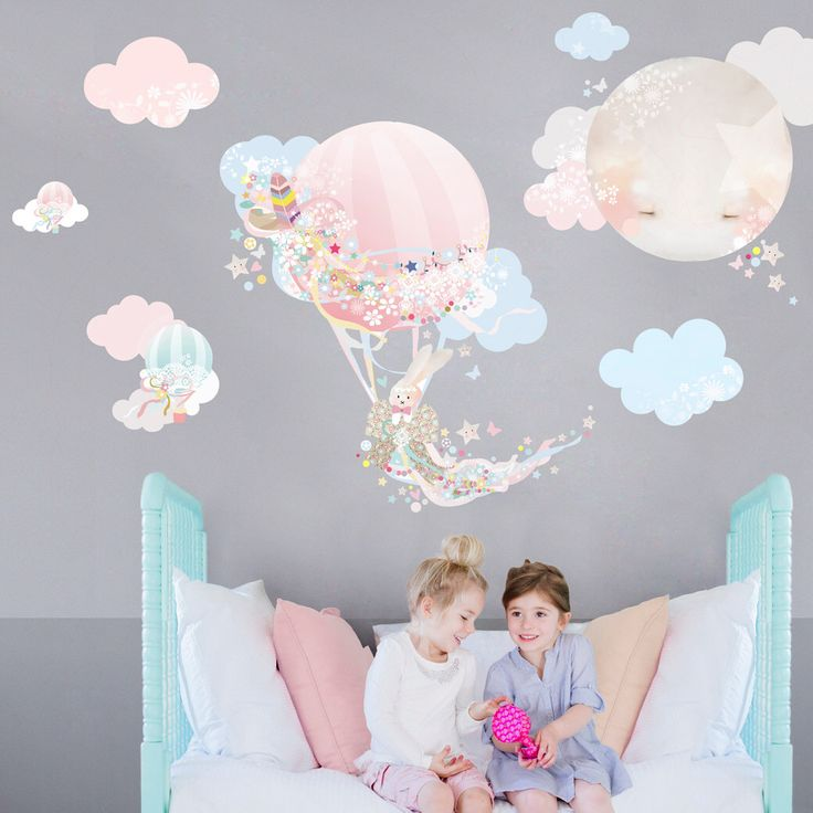 Hot Air Balloon Fabric Decal Wall Stickers - Pretty, floral, girls bedroom wall sticker by schmooks on Etsy https://www.etsy.com/listing/234289765/hot-air-balloon-fabric-decal-wall