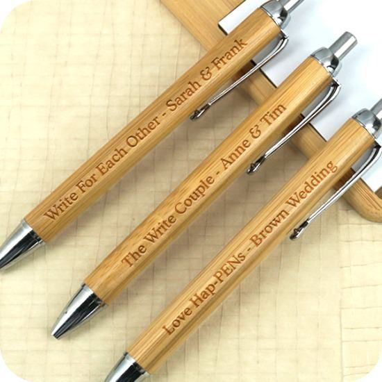 Personalized bamboo pens - wedding favors - retirement - family reunion - birthday party - COUPON is saveme5