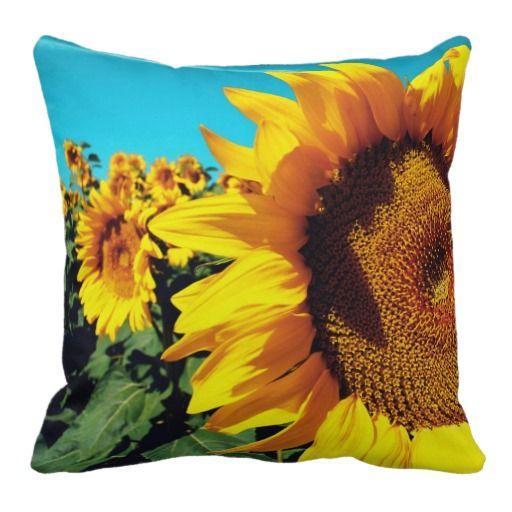 Vibrant #Sunflowers against blue sky #Pillows $63.95 ...