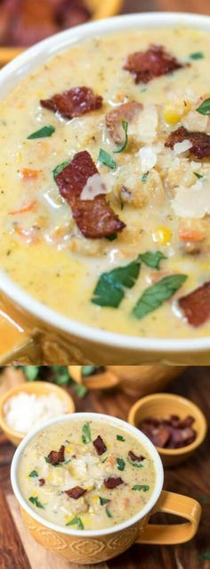 This Roasted Cauliflower Corn Chowder from Valerie over at Valerie's Kitchen is an easy and deliciously creamy soup that is perfectly served on a cool, crisp fall day. The cauliflower gets roasted in the oven giving it the perfect flavor for this soup. Pair that with sweet corn, crispy bacon bits, and Parmesan cheese and watch out because your family will eat this right up!