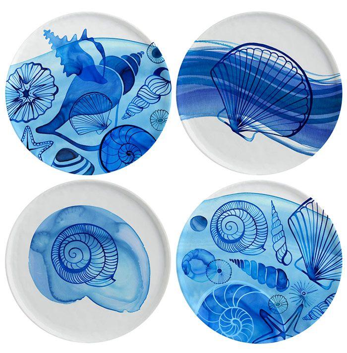 Margaret Berg Art: Coastal+Shells+Plate+Set+