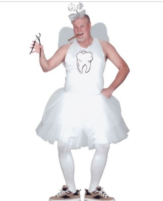 ADULTS MENS COMICAL HUMOUR TOOTH FAIRY TUTU FANCY DRESS COSTUME One Size USA #FunWorld #CompleteOutfit