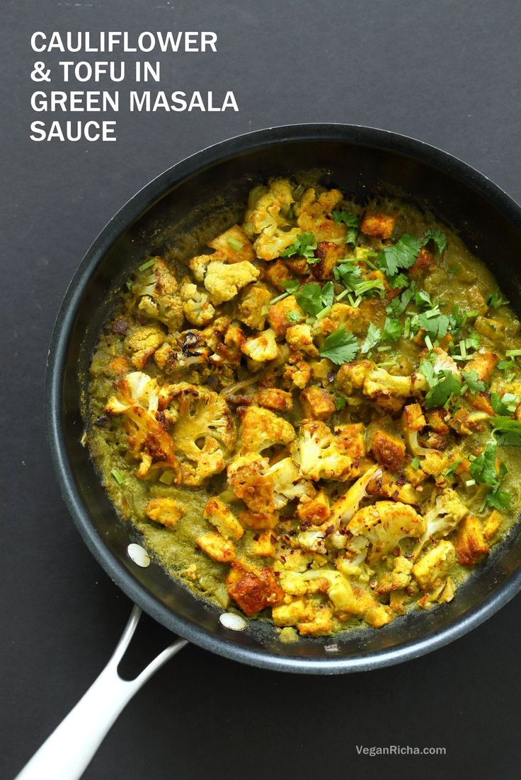 Spiced Cauliflower and Tofu in Green Masala Sauce. Baked Cauliflower and Tofu in green cilantro sauce. The sauce paste can be made ahead. Vegan Gluten-free Nut-free Recipe. Can be soy-free
