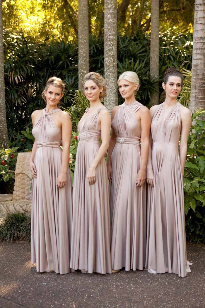 Goddess by Nature Bridesmaids Gowns in dusty pink