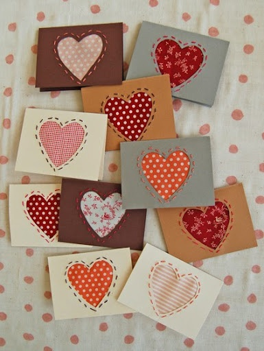 fabric scrap cardmaking idea