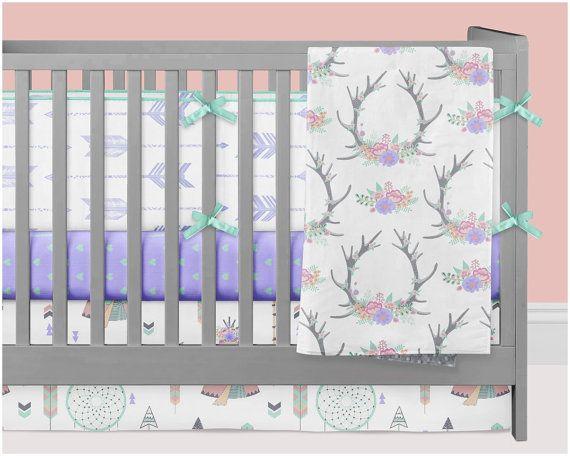 Woodland Crib Bedding Girl Teepee Tipi Nursery by modifiedtot