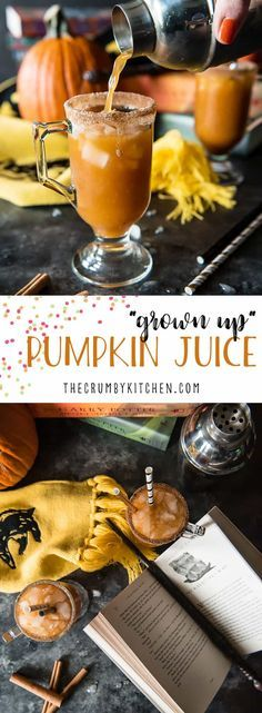 """Who says adults can't enjoy Harry Potter?! This """"Grown Up"""" Potter Pumpkin Juice cocktail spikes Hogsmeade's popular drink with bourbon whiskey, Slytherin style! #Cocktail #Harrypotter #pumpkin #juice #bourbon #halloween #autumn"""