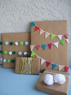 Pretty pompom and bunting packaging.