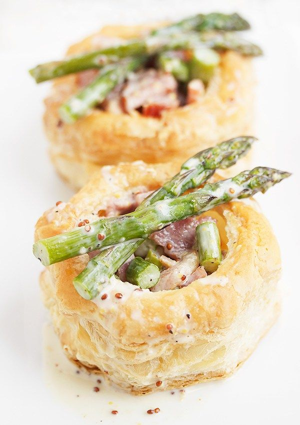 Ham and Asparagus Vol au Vent with a Creamy and Grainy Mustard Sauce                                                                                                                                                                                 More
