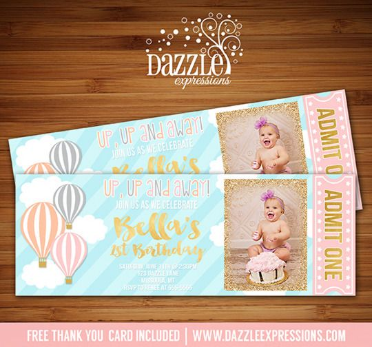 Printable Girls Hot Air Balloon Ticket Birthday Invitation | Pink and Gold Glitter | First Birthday | Baby Shower | Digital File | Girls Birthday Party Idea | FREE thank you card | Party Package Available | Banner | Cupcake Toppers | Favor Tag | Food and Drink Labels | Signs | Candy Bar Wrapper | www.dazzleexpressions.com