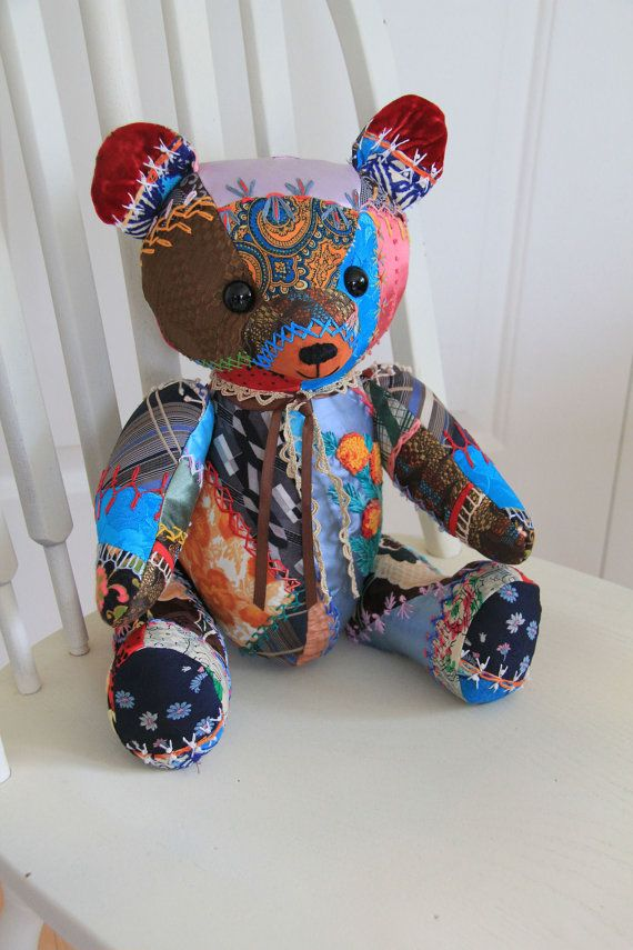 Crazy Quilt Teddy Bear made from Vintage Quilt by BecomingBearsETC, $150.00