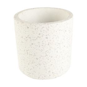 Terrazzo Cylinder Pot - White