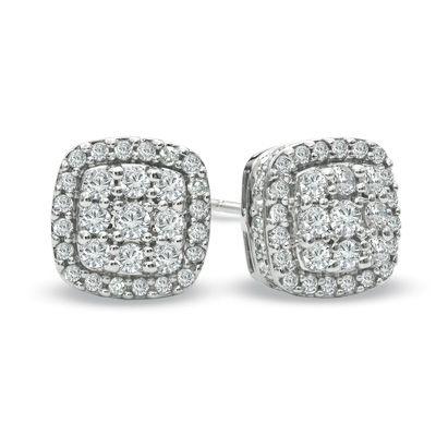 1 CT. T.W. Diamond Square Cluster Stud Earrings in 10K White Gold - Zales