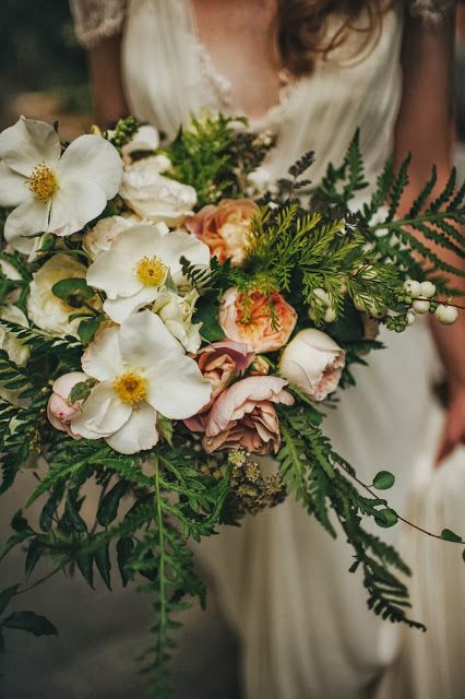 Garden rose and wild fern bouquet by sarah winward. Photo by Sean Flannigan