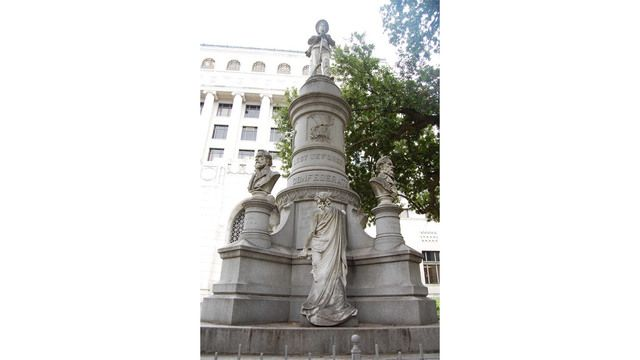 The Confederate monument at the Caddo Parish Courthouse.