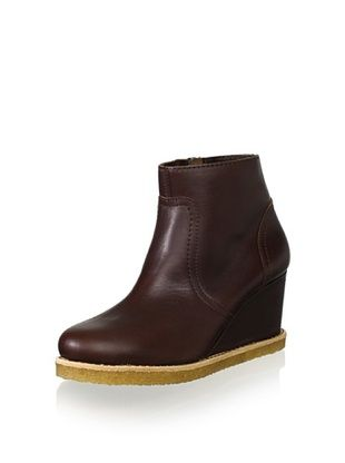 Swedish Hasbeens Women's Wedge Ankle Boot (Chocolate)