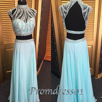 Unique high neck chiffon prom dress, two pieces prom dress for teens #coniefox #2016prom