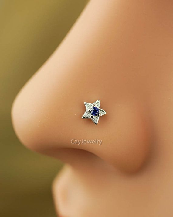 nose ring,nose stud,nose piercing,sterling silver nose ring, blue zircon nose jewelry, star nose ring 20g