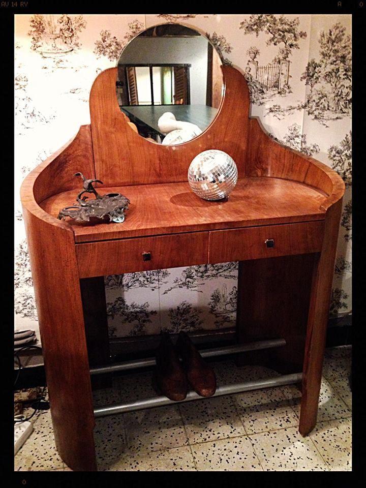 Coiffeuse art deco miroir bois repose pied en m tal dim for Miroir usine deco