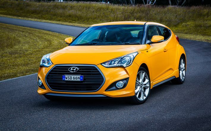 Hyundai Veloster Turbo, 2016, hatchbacks, AU-spec, yellow veloster