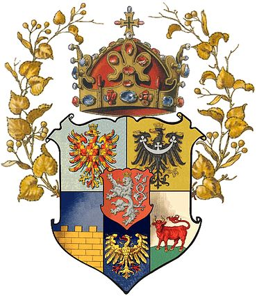 Czechia / Lands of Bohemian Crown - Lands of Bohemian crown :  (clockwise from left above)  Eagle of Moravia, Piast Eagle of Silesia,  Ox of Lower Lusatia, Eagle of Upper Silesia,  Wall of Upper Lusatia, en surtout Bohemian Lion, upon Crown of Saint Wenceslas, garlanded by lime