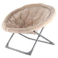 Oversized Large Folding Saucer Moon Chair Corduroy Round Seat Living Room Beige