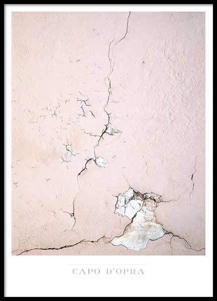 Stylish photo poster on a pink wall in close-up. The cracks in the wall gives the painting an artistic sense and becomes an attractive element in your interior. www.desenio.com