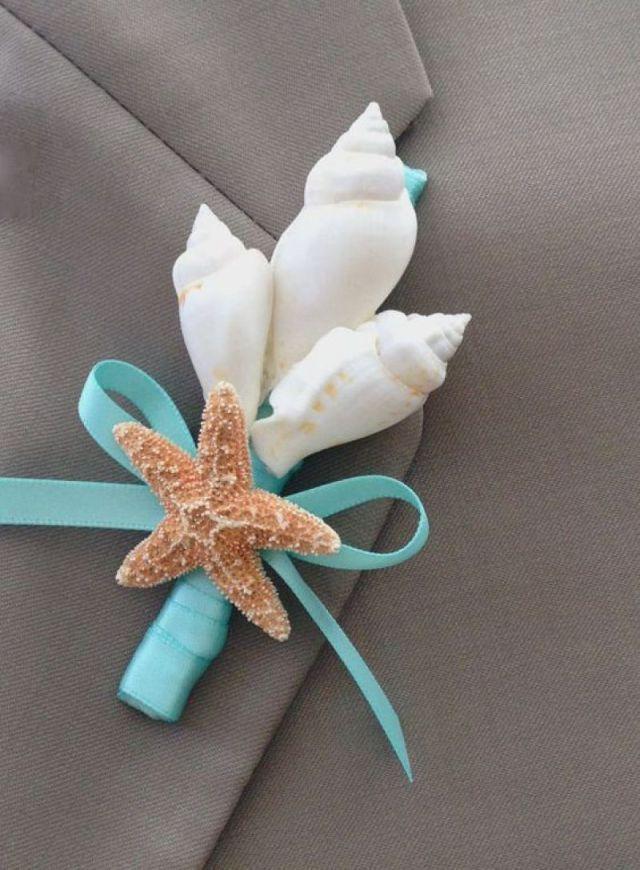 Beach Wedding Seashell and Starfish Boutonniere