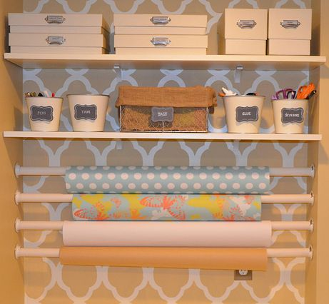 Neat Little Nest: Cute & Organized Wrapping Paper Station #organization #craft #DIY