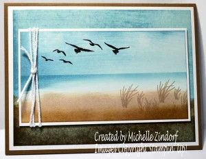 "By Michelle Zindorf. Masking and sponging. Stamp set: ""High Tide"" by Stampin' Up."