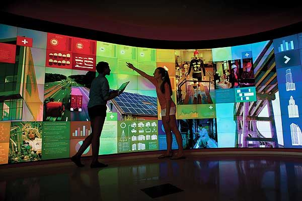Large scale visualization - 5 huge Christie Microtiles display walls in the new James B. Hunt Jr Library at NC State University will push the limits of how libraries create, see and use data to create technologically immersive spaces. http://youtu.be/YgfaiIqtxws