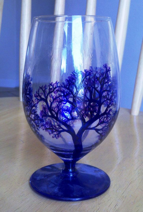 Hand-painted blue and purple trees water/wine glasses