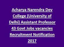 Acharya Narendra Dev College (University of Delhi) Assistant Professor 43 Govt Jobs vacancies Recruitment Notification 2017