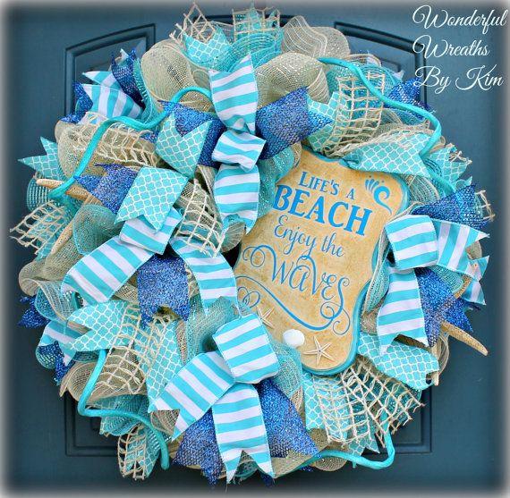 Beach wreath,deco mesh wreath,deco mesh beach wreath,summer wreath, everyday wreath