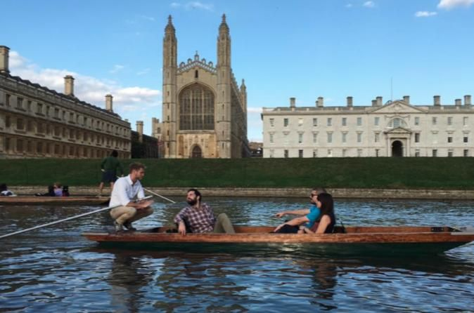 Private Cambridge Punting Tour This private punting tour gives you the opportunity to see eight of the most famous Cambridge colleges from Darwin to Magdelene and nine bridges from the Mathematical Bridge to the Bridge of Sighs all while being punted by a professional local guide. Just relax and enjoy the experience!Meet at the entrance of King's college chapel on King's parade then be escorted down to the river to enjoy this this 45-minute private punting tour in Cambridge. Y...