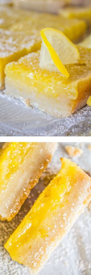 This is the BEST recipe for Lemon Bars I have EVER had! The shortbread crust is thick and tender, and the lemon custard on top is super tart and creamy. from The Food Charlatan.