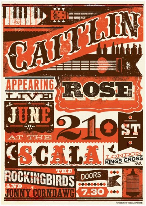 Incredible use of Vintage Typography    Poster design with vintage lettering  by telegramme studio.
