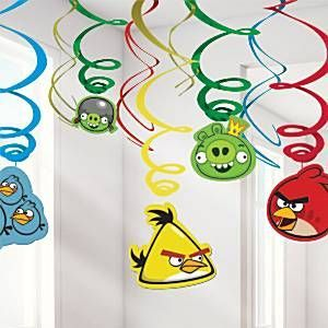 Angry Birds Swirl Decorations feature dangling card cut-outs of Red Bird Yellow Bird Blue Birds and the Bad Piggies Package includes a total of 12