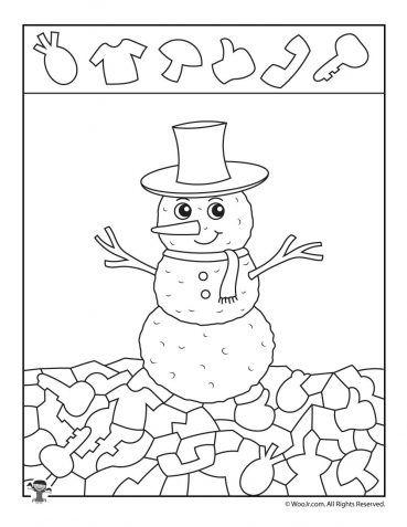 Winter Snowman Hidden Picture Printable TO PRINT Hidden pictures