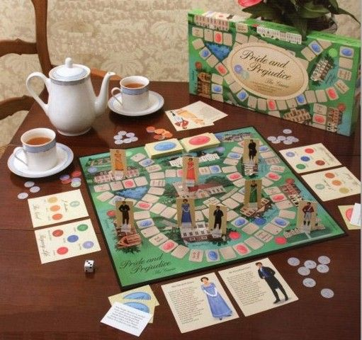 Pride and Prejudice board game. Marriage is the object. Alas, your progress may be deterred by anything from a bit of slipped lace to a scandalous elopement. Lol I want to play this!!
