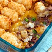 Cheesy tater-tot hotdish, Recipe from Cooking.com  Who doesn't like Tator Tot Casserole!