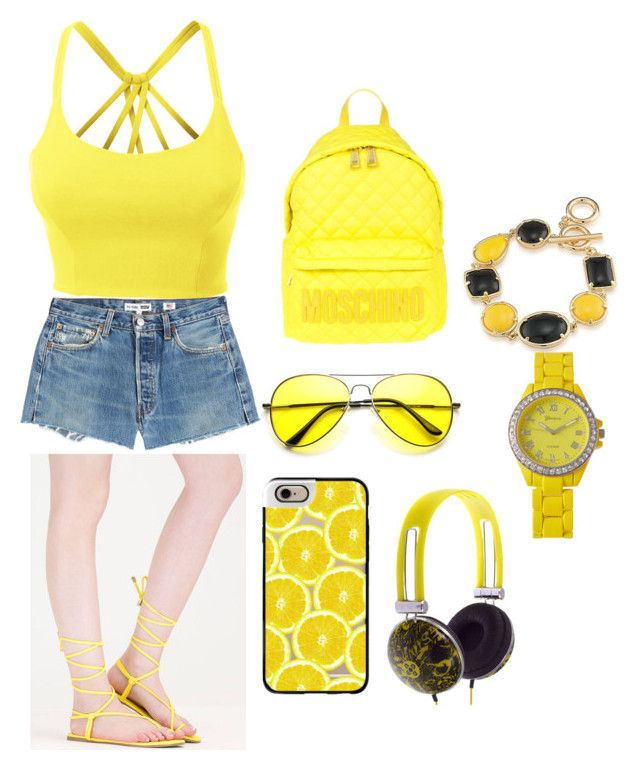 """shocking yellow for shocking holiday"" by riesta-divanda-devi-chattleya on Polyvore featuring LE3NO, RE/DONE, Moschino, ZeroUV, Casetify, 1st & Gorgeous by Carolee and Geneva"