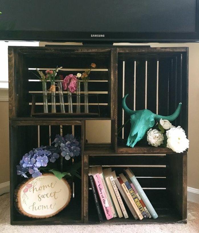 Idée Comment Fabriquer Un Meuble TV En Caisses En Bois, Accessoires  Décoratifs, Fleurs Et