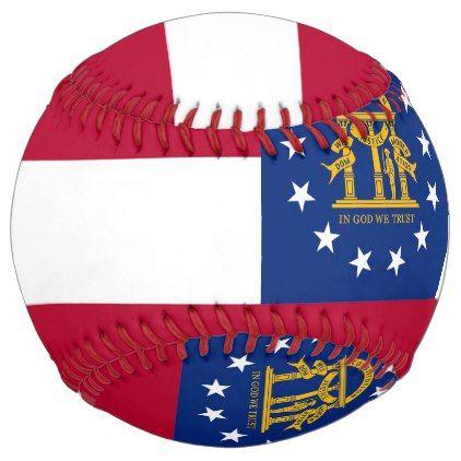 Patriotic Softball with flag of Georgia USA - kids kid child gift idea diy personalize design