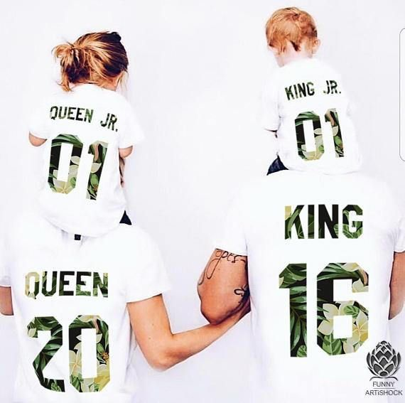 King Queen Prince Princess 01 Father Mother Daughter Son Matching shirts , King and Queen shirts, Custom Numbers, 100% cotton Tee First picture - Tropical Flowers Second picture - Blue Roses The price is per t-shirt, you need to select each one you need separately. Dear customer, by