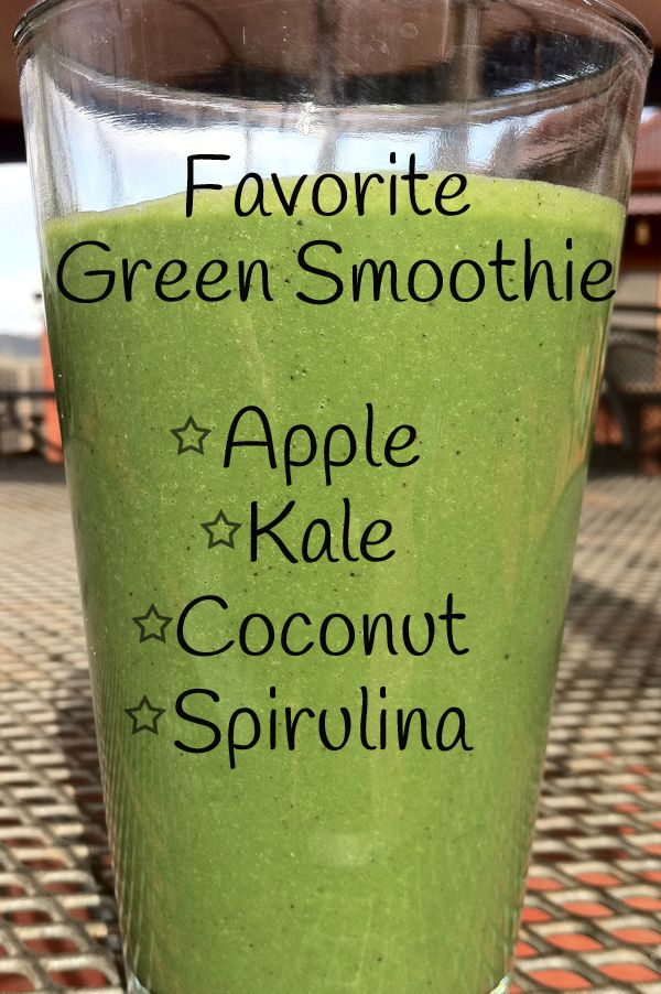 apple, coconut, kale, Spirulina smoothie    http://vegetarianbody.com/blog/vegetarian-recipes/green-smoothie/