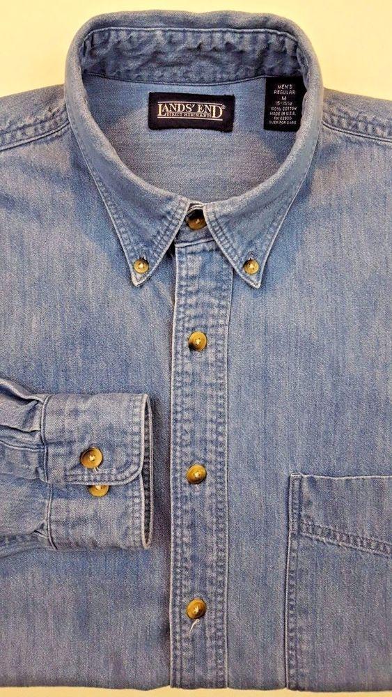 LANDS End VINTAGE Denim SHIRT Medium MENS Blue BUTTON Front USA Cotton REGULAR** #LandsEnd #ButtonFront