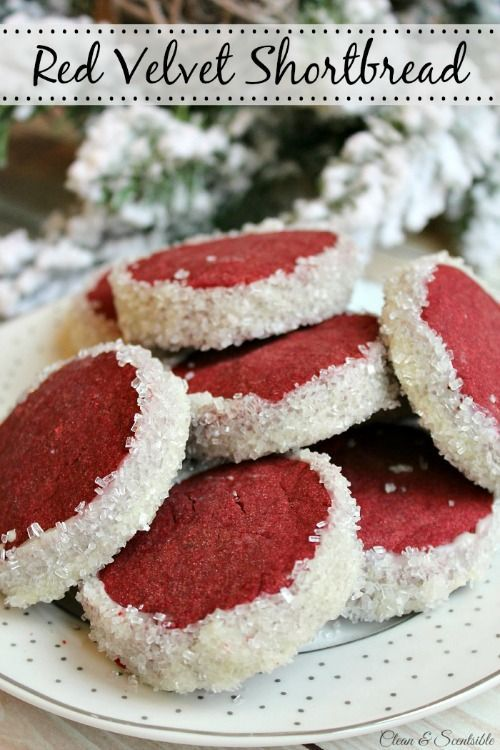 Red velvet shortbread cookies. A little twist on an old favorite dessert recipe!  They look so festive, they would make great neighbor or co-worker gifts too.