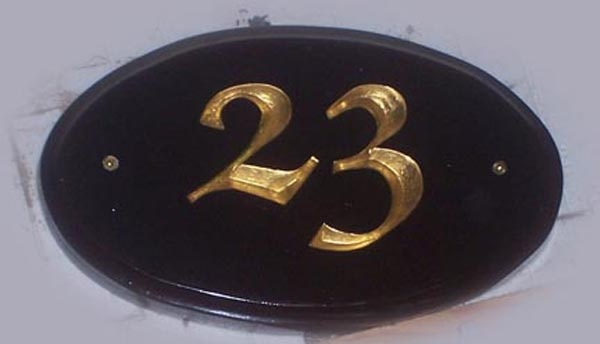 Handcarved house number.  Hand painted and gold leafed High Density Urethane.  Created by Jackie Shields, www.saugeensignworks.com