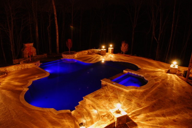 Unreal Pool Lighting And Stone Work Brown 39 S Pools Spas Of Dallas Georgia